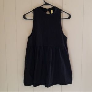 Free People Black High Neck Halter with Open Back